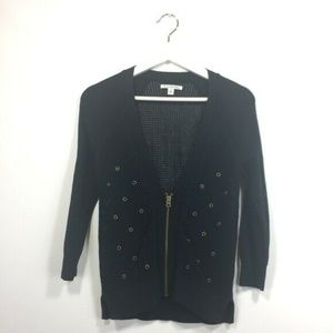 American Eagle Outfitters Cardigan Small Black Zip